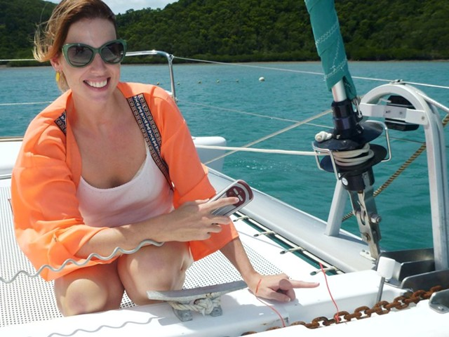 A lady sailing in the Whitsundays