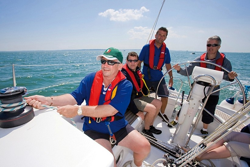 A crew learning to sail