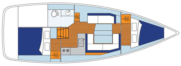 Floor plan Jeanneau 38