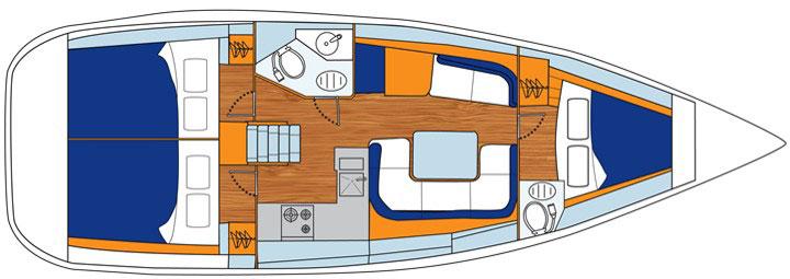 Floor plan Jeanneau 39