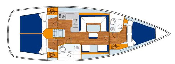Floor plan Jeanneau 41 Sun Odyssey