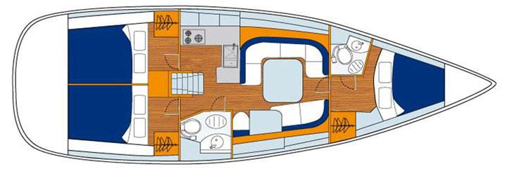 Floor plan Jeanneau 42