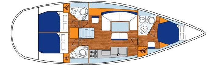 Floor plan Jeanneau 44