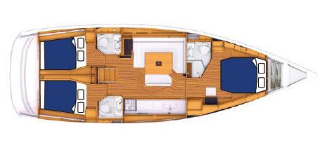 Floor plan Jeanneau 47 Sun Odyssey
